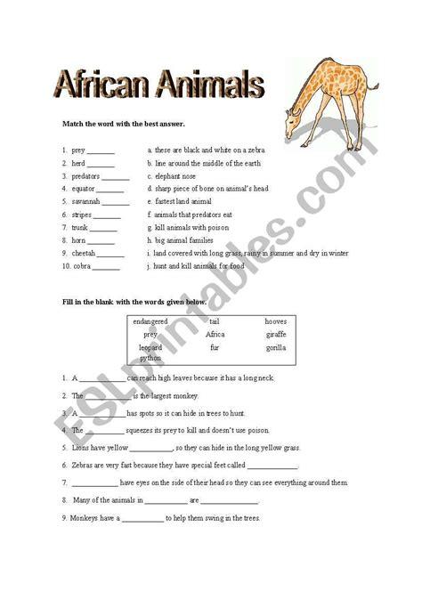 african animal quiz esl worksheet  lisaaldrich