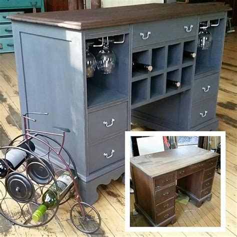 Wine bar/kitchen island from old desk   furniture