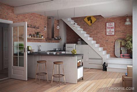 kitchen wall design modern kitchen with brick wall decor interior design ideas 3450