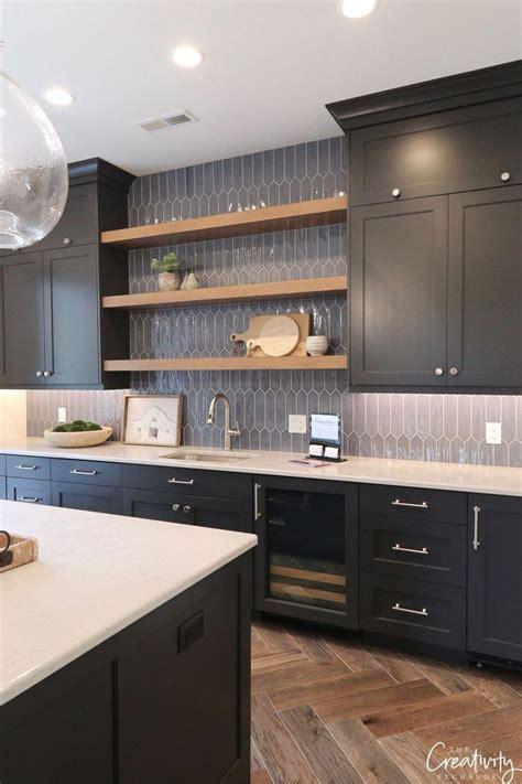 benjamin moore hale navy cabinets  open shelves combo
