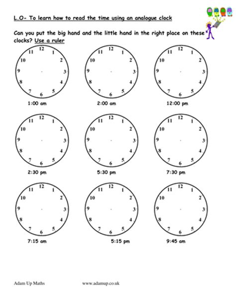 reading analogue clocks solve time word problems