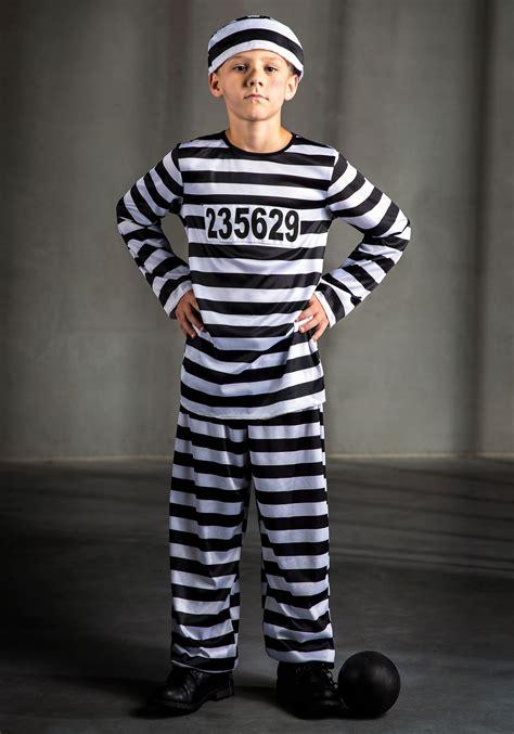 Kids Inmate Prisoner Costume - Boys Classic Convict Costumes