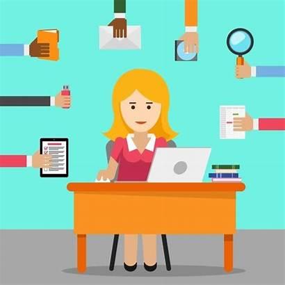 Office Woman Secretary Busy Assistant Cartoon Clipart