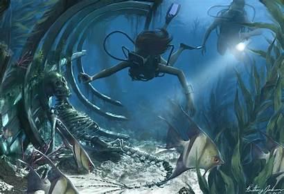 Underwater Discovery Skeleton Painting Liol Beagifted Water