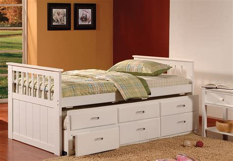 Benny White Twin Size Captains Bed W/ Trundle & Storage Drawers