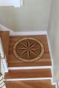 wood compass floor inlay nautical