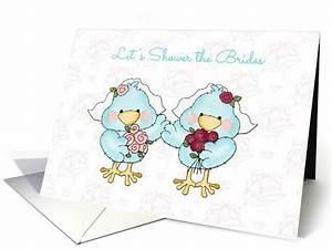 cute bride birds lesbian bridal shower invitation card With lesbian wedding shower ideas