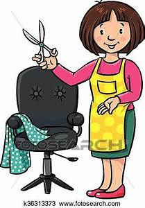 Funny hairdresser or barber. Profession ABC series Clipart ...