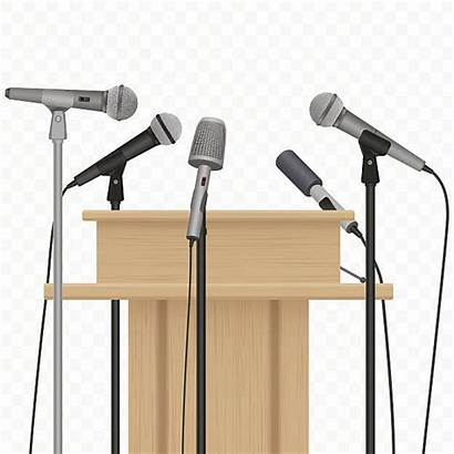 Conference Press Microphones Podium Background Speaker Alpha