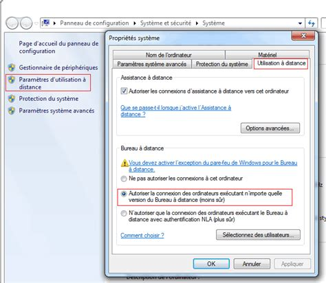 pc de bureau avec windows 7 bureau à distance ou remote desktop contrôle à distance