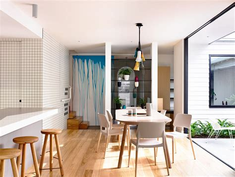 an suburban modern cottage with playful interior