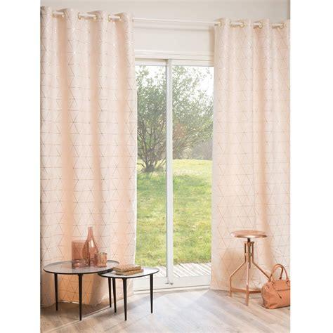 deco chambre romantique beige rideau à œillets beige or 135 x 250 cm maisons du