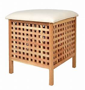 Wäschekorb Mit Sitzfläche : ts ideen badhocker mit sitzkissen sauna badezimmer sitz w schekorb aus walnuss holz aitnexa ~ Watch28wear.com Haus und Dekorationen