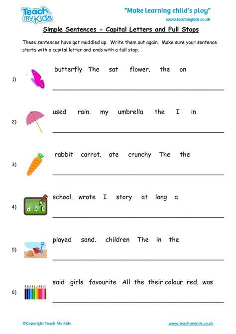 simple sentences capital letters  full stops tmk