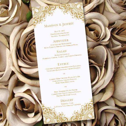 printable wedding menu template vintage gold worddoc