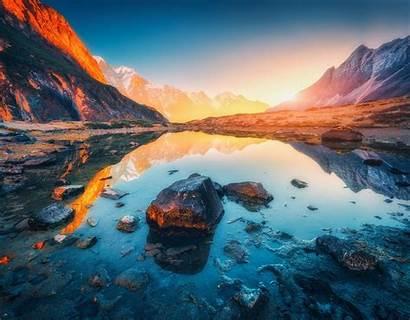 Landscape Simple Nature Impact Montanhas Tons Lago