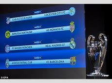 UEFA Champions League fixtures Quarterfinal matches
