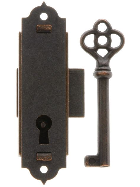 narrow vertical cabinet lock  antique bronze finish