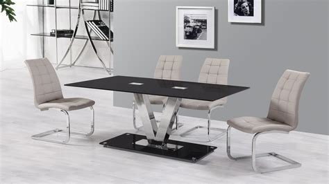 dining table set 6 seater 6 seater black glass dining table and grey chairs homegenies