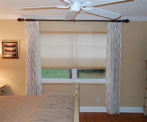 curtains with cellular shades contemporary bedroom