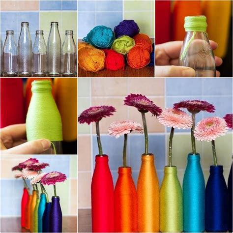 Flower Vases Designs by How To Diy Yarn Decorated Flower Vase
