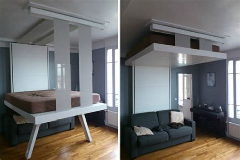 cuisine ouverte avec ilot un lit escamotable plafond pratique et innovant archzine fr