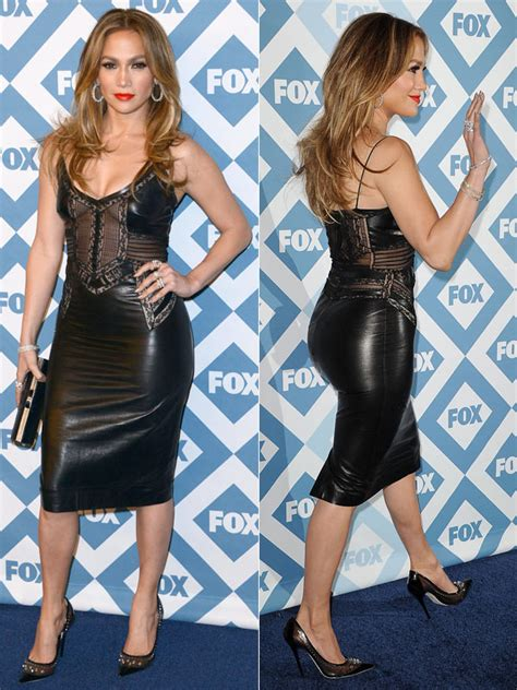 jennifer lopezs fox  star party dress sizzles  sexy sheer leather  hollywood life