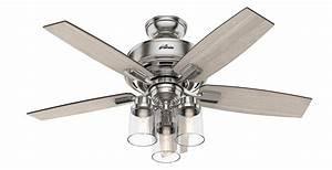 Hunter, 50417, Indoor, Bennett, Ceiling, Fan, With, Led, Light, Brushed, Nickel, Chrome