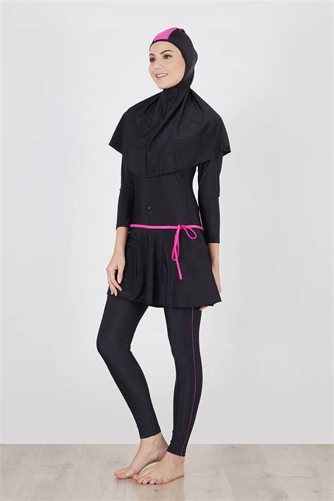 baju renang muslimah list pink bagian kepala kaki