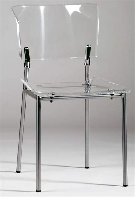 acrylic side chair with clear seat and back and metal