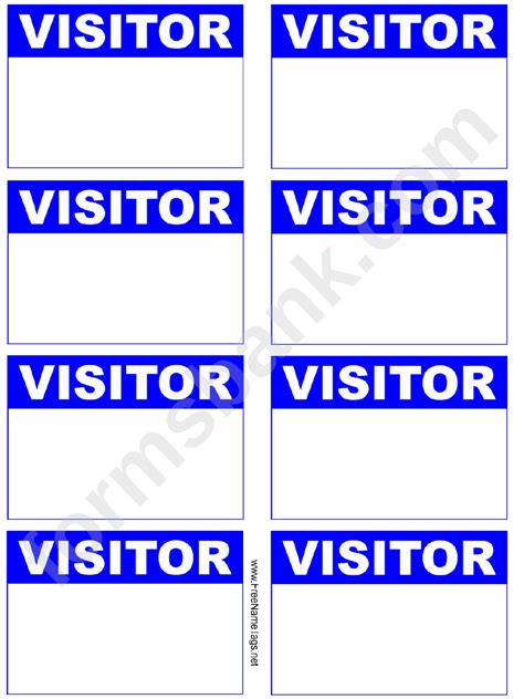 visitor badge blue  tag template printable