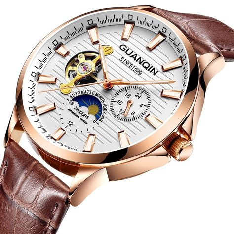 high  mechanical  top brand guanqin  tourbillon automatic  men leather strap