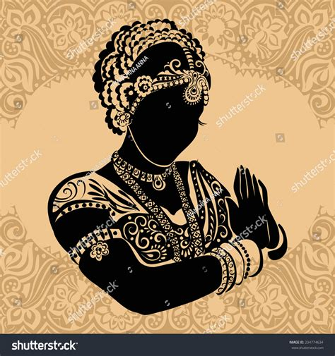 indian woman silhouette woman stock vector