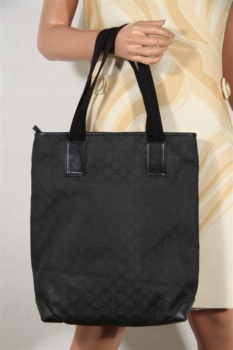 gucci italian black gg monogram canvas tote handbag shopping bag  sale  stdibs