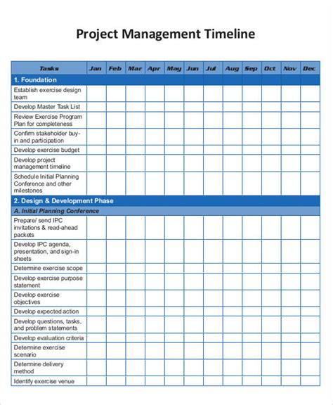 project management timeline template project management templates 9 free word pdf documents