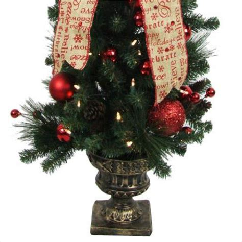 prelit battery operated potted christmas tree home accents 4 ft battery operated burlap potted artificial tree with