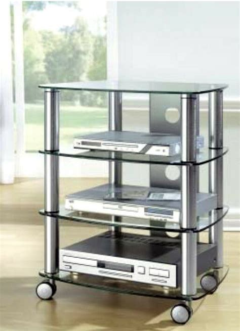 Auf Rollen by Hifi Rack Mit Rollen Tv Phonowagen Glas Metall Regal