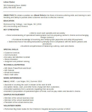 sle bank teller resume 7 exles in word pdf