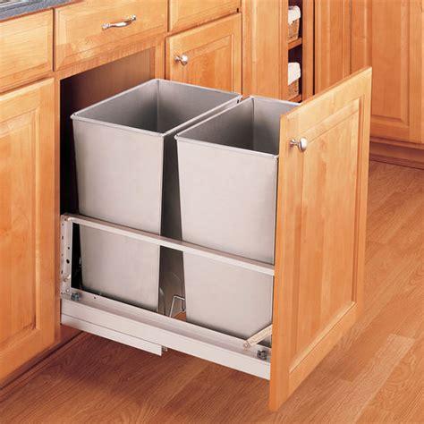 rev  shelf premiere double bin pull  waste containers    quart    gallon