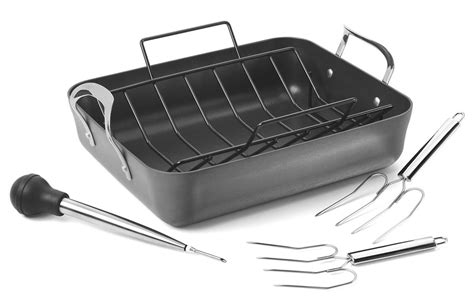 calphalon contemporary stainless roasting pan with rack calphalon contemporary nonstick roasting pan set 16 5 x