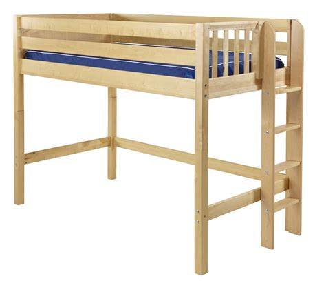 loft bed maxtrix mid loft bed w ladder on end size