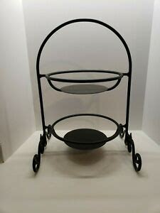 longaberger black wrought iron  tiered stand  leaves   side ebay