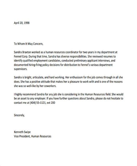 letter of recommendation template for employee 10 employee recommendation letter template 10 free word pdf format free