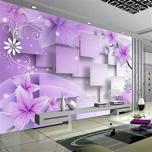 custom 3d photo wallpaper modern abstract art wall With what kind of paint to use on kitchen cabinets for wall art purple flowers
