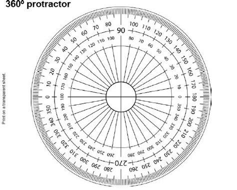 protractor print   transparent sheet put  small