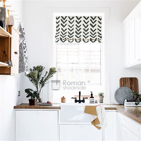 decorative geometric pattern flat shaped black roman shades