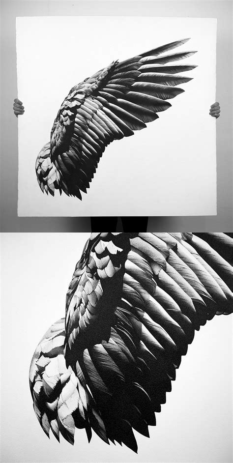 Wing Pen Drawings by Alessandro Paglia | Ink pen drawings, Wings drawing, Wing tattoo designs