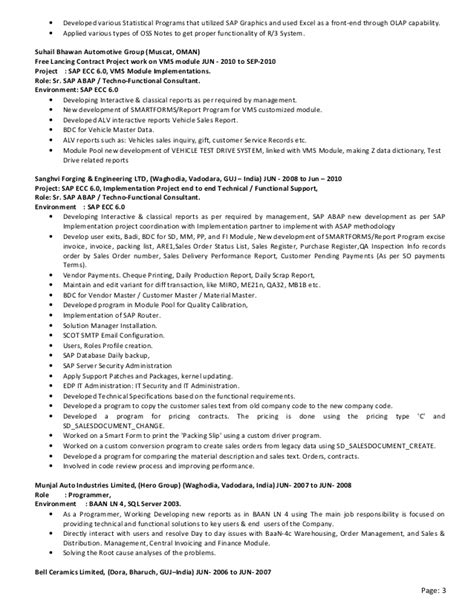 sap technical consultant cv 28 images professional