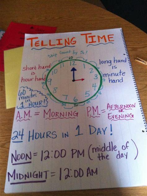 telling time anchor chart kindergarten math math tutor