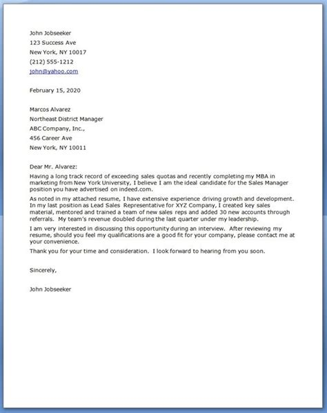 sales manager cover letters cover letter  resume